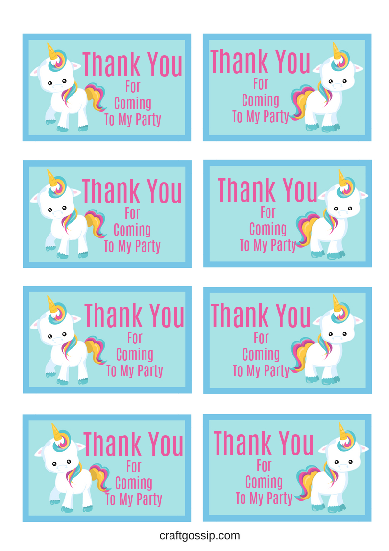 Free Printable Unicorn Party Gift Tag | Birthday Ideas - Free Printable Thank You Tags For Birthday Favors