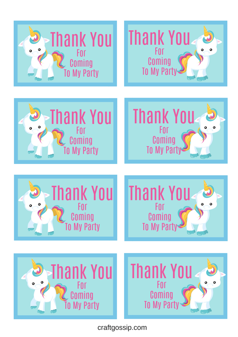 Free Printable Unicorn Party Gift Tag | Crafts | Unicorn Printables - Unicorn Name Free Printable