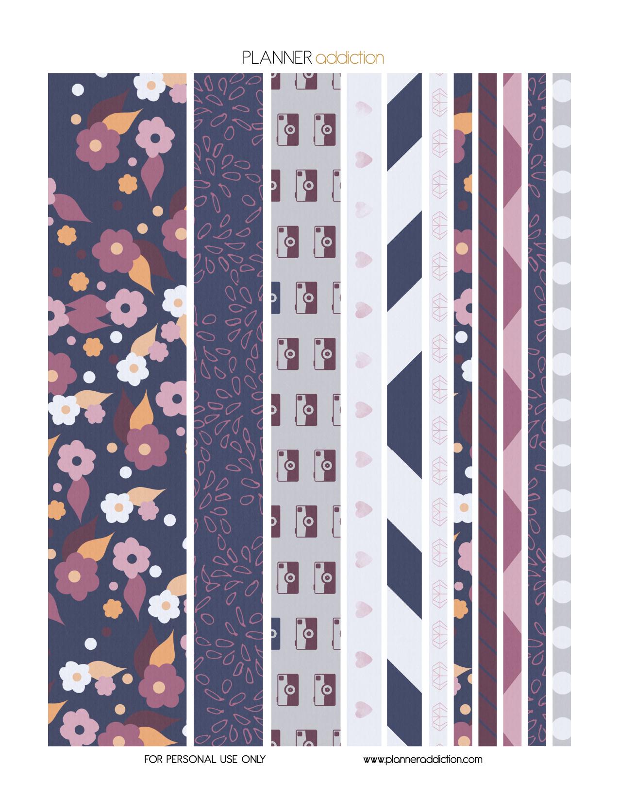 Free Printable Washi Tape - Purple Blue Floral | Crafty Ideas - Free Printable Washi Tape