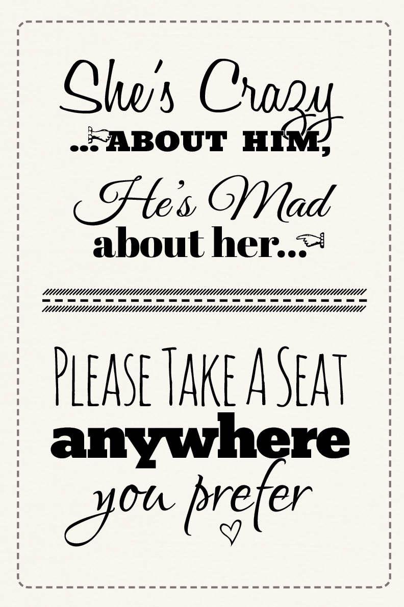 Free Printable Wedding Download: Pick A Seat Sign | Dream Come True - Free Printable Wedding Signs