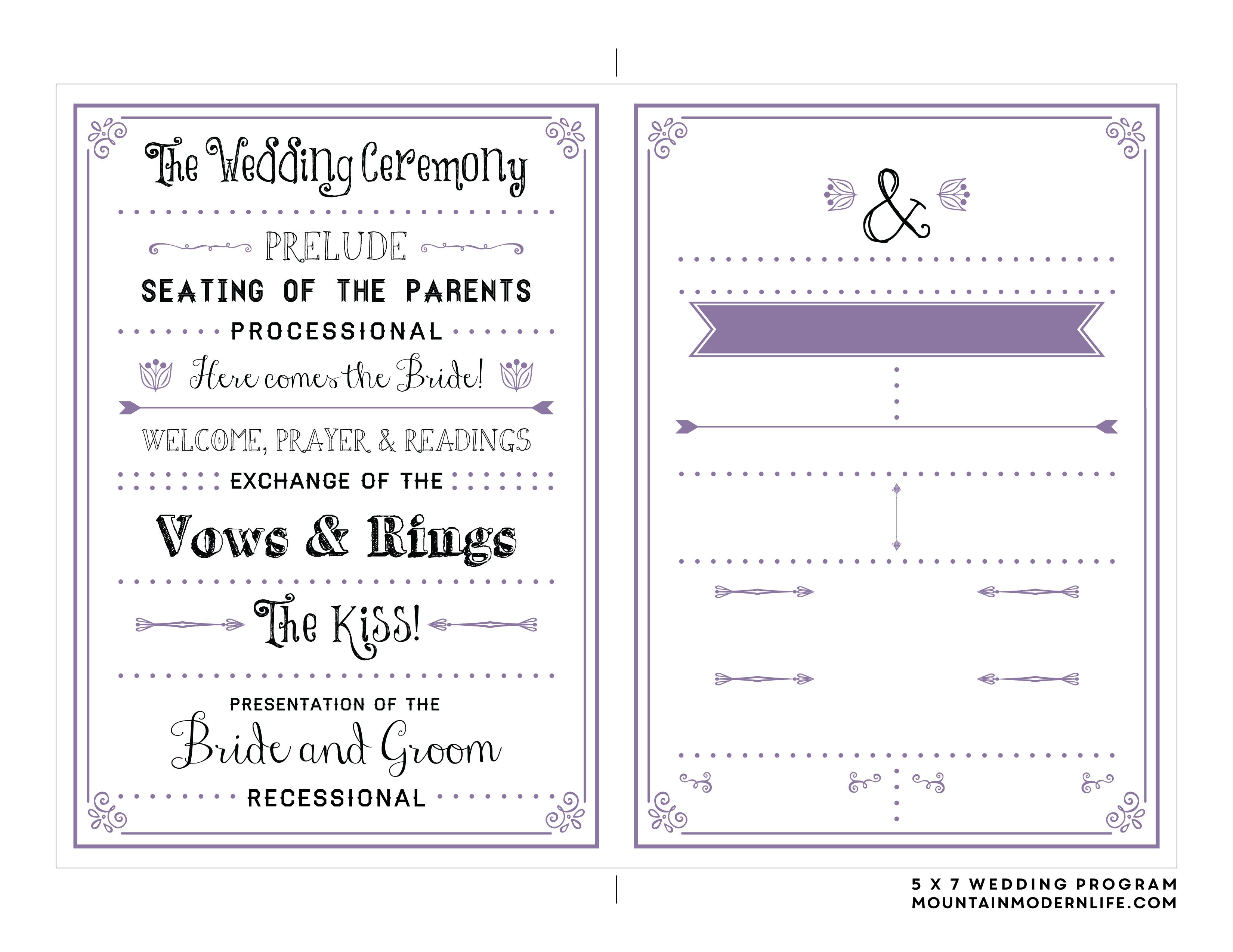Free Printable Wedding Program | Wedding Ideas | Pinterest | Wedding - Free Printable Wedding Maps