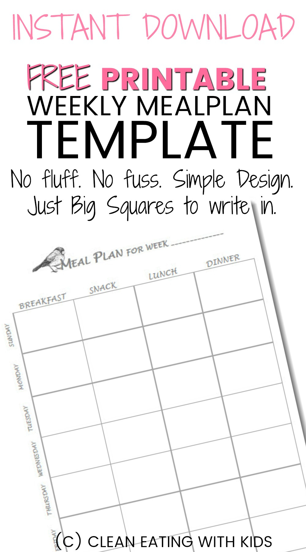 Free Printable Weekly Meal Plan Template - Clean Eating With Kids - Design A Menu For Free Printable