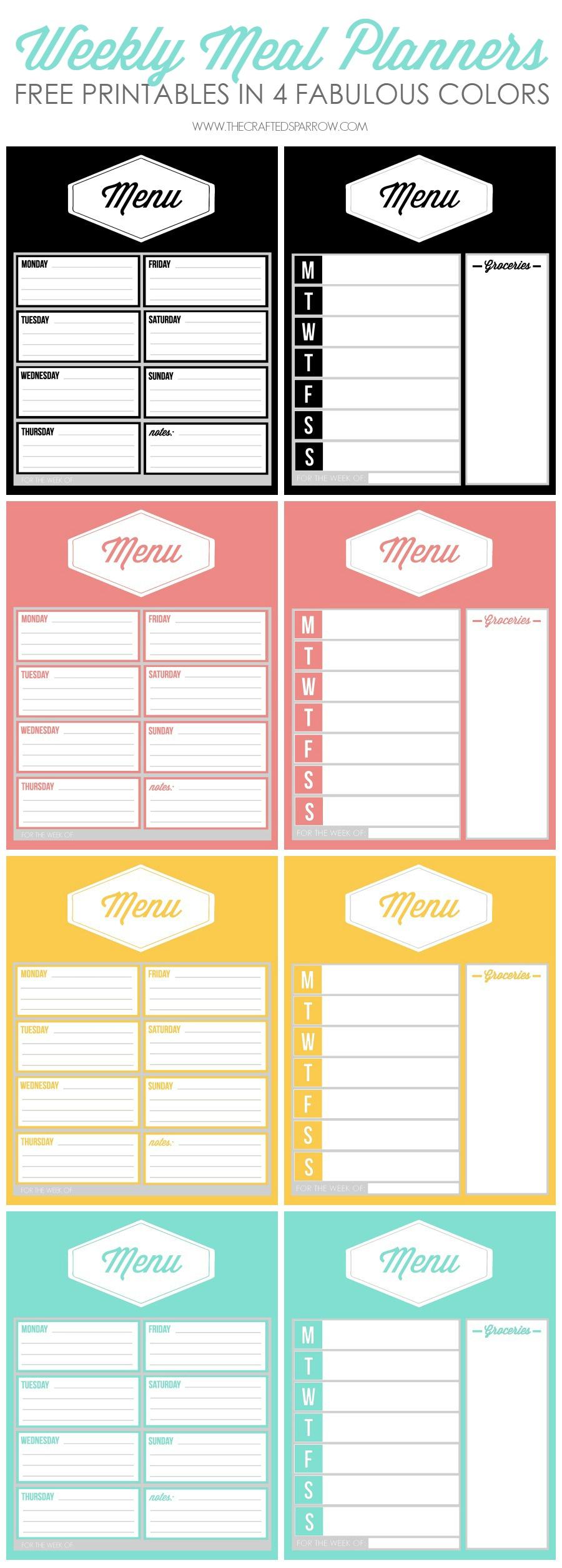 Free Printable Weekly Meal Planners - Weekly Menu Free Printable