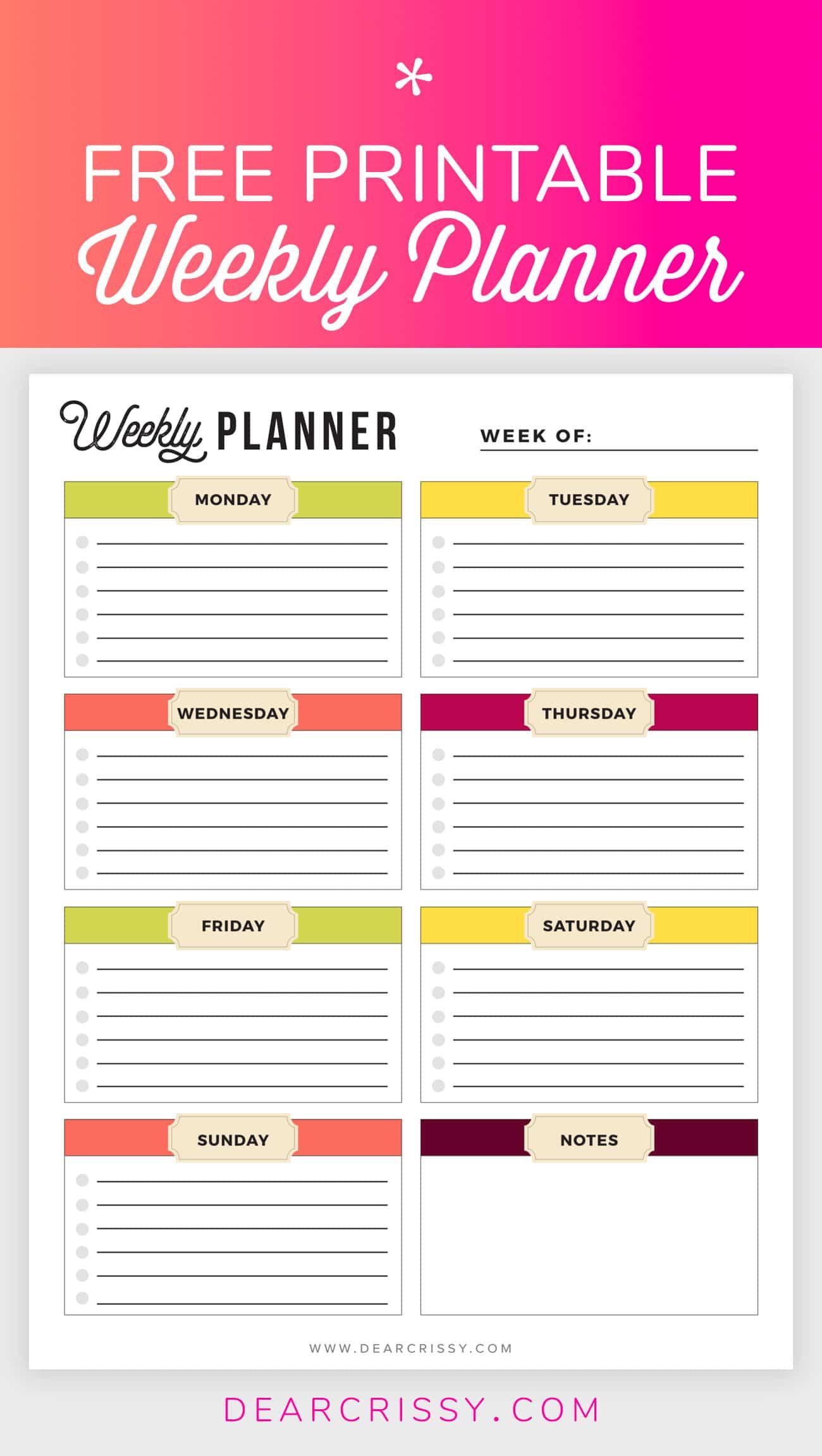 Free Printable Weekly Planner - Weekly Planner Printable! - Planner Printable Free