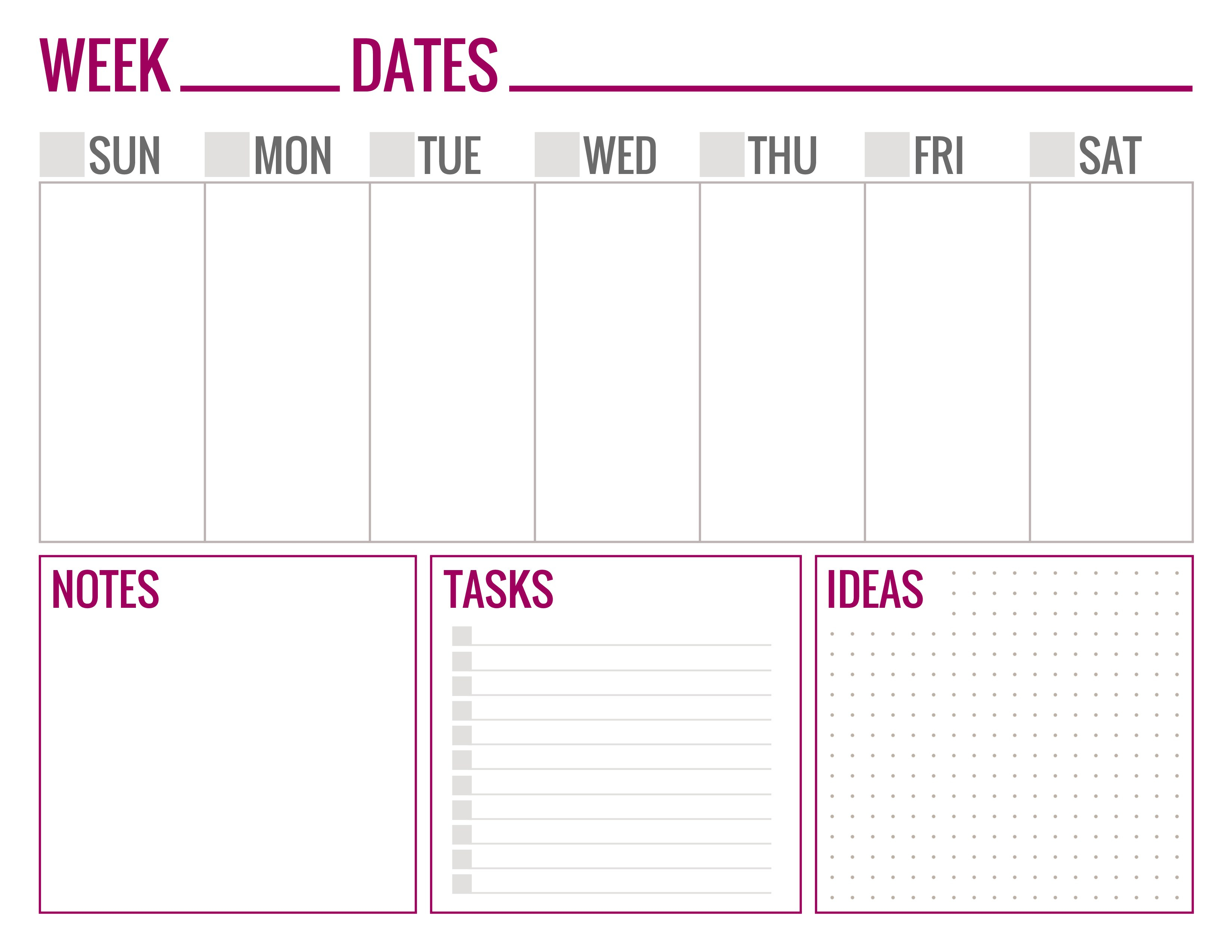 Free Printable Weekly Schedule Page 1 - Paper And Landscapes - Free Printable Weekly Schedule