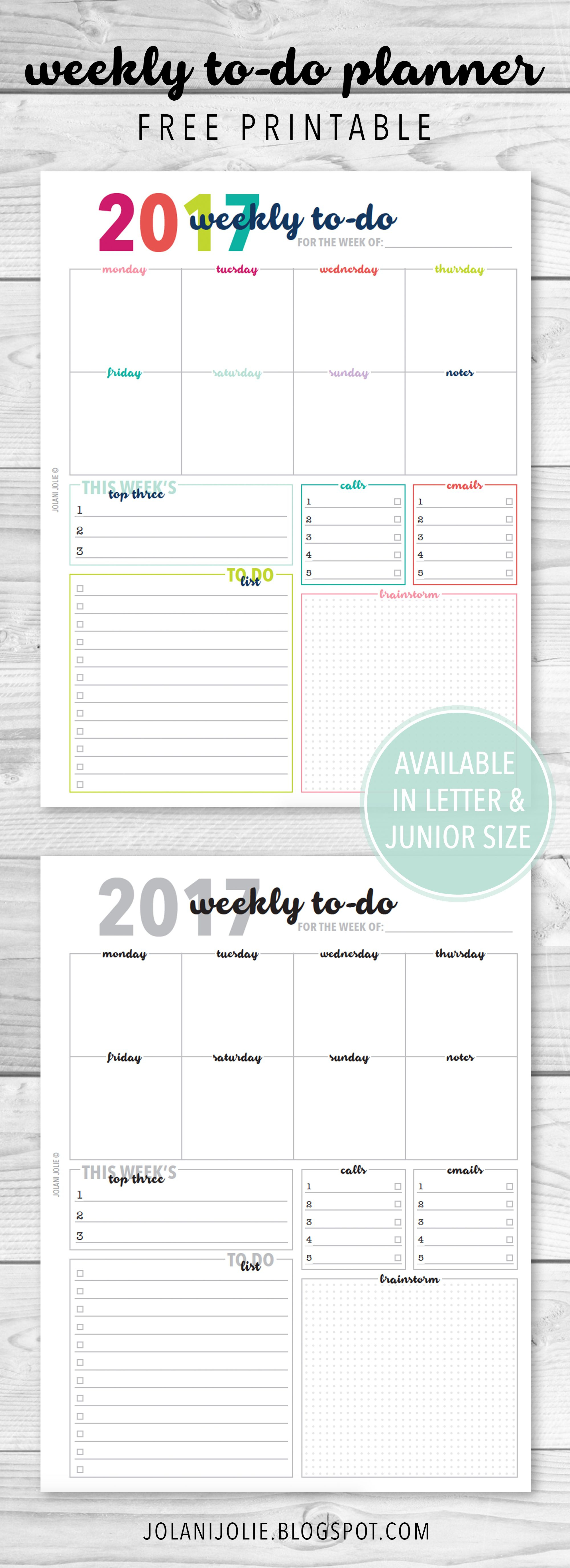 Free Printable: Weekly To Do Planner Insert   Planners   Planner - Free Printable Student Planner 2017