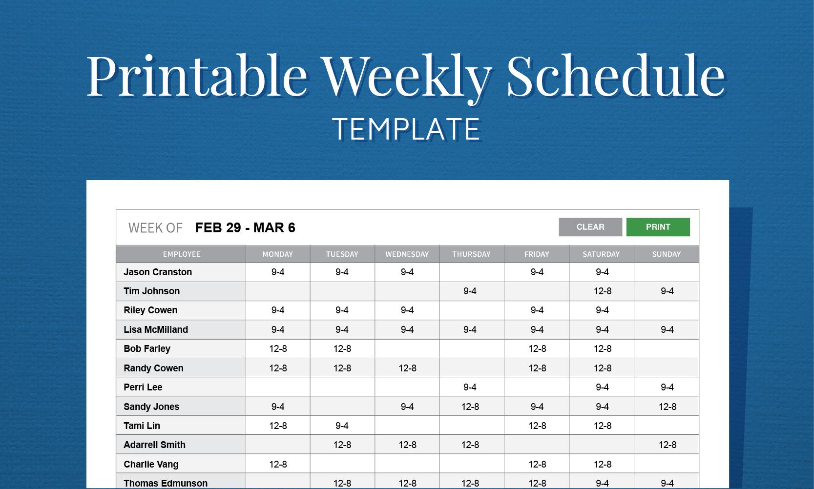 Free Printable Weekly Work Schedule Template For Employee Scheduling - Free Printable Monthly Work Schedule Template