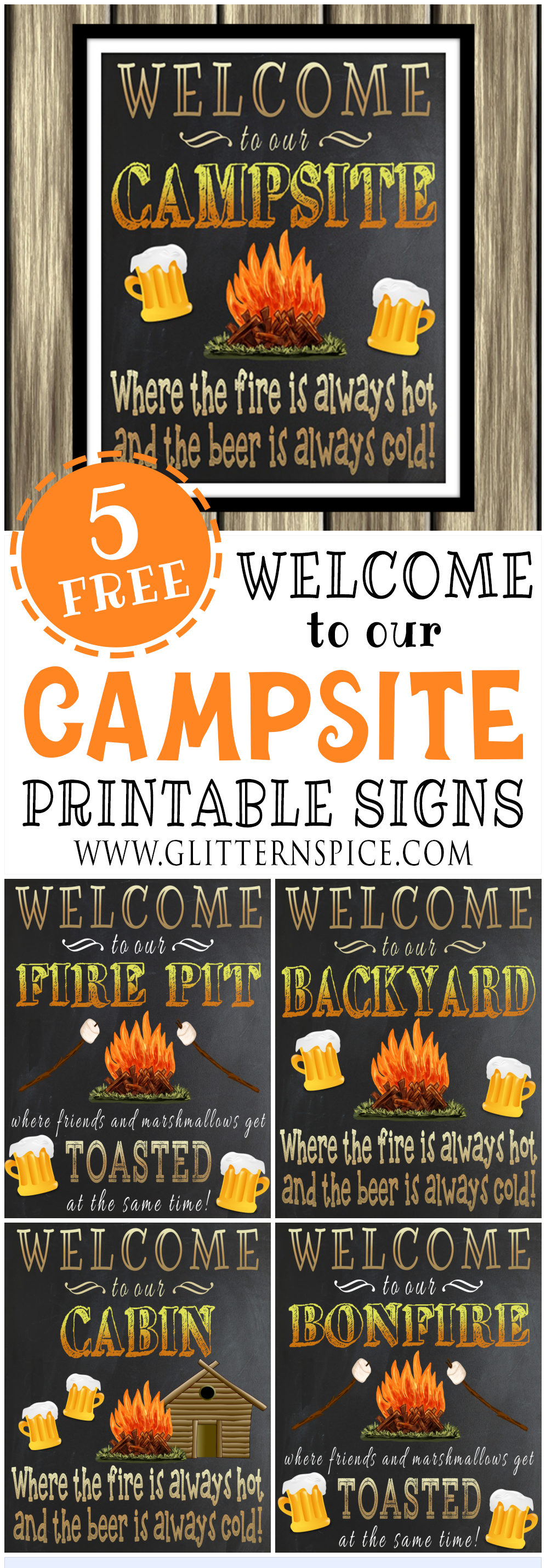 Free Printable Welcome To Our Campsite Sign Plus 4 More Outdoorsy - Free Printable Camping Signs