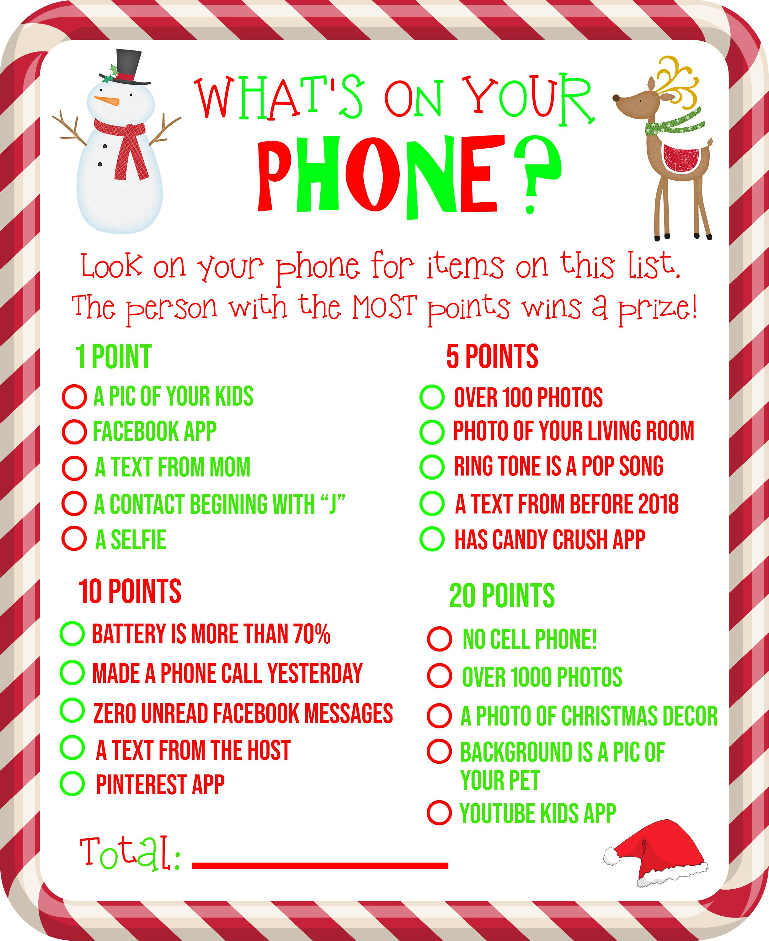 Free Printable! What's On Your Phone Christmas Party Game - Free Holiday Games Printable