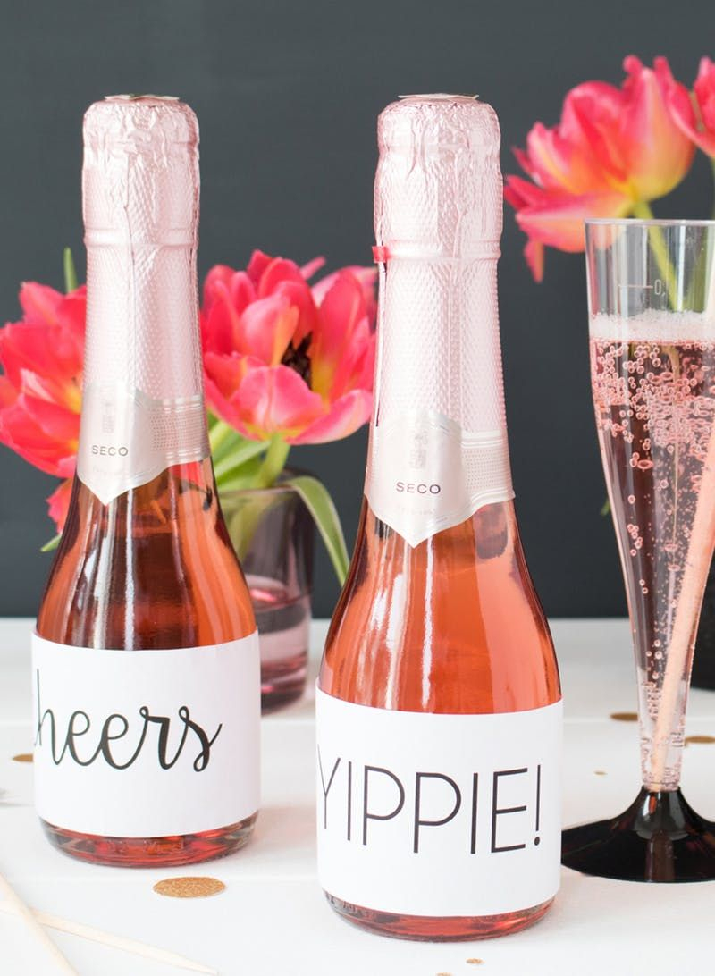 Free Printable Wine Bottle Labels 30Th Birthday Idea | 30Th Birthday - Free Printable Mini Champagne Bottle Labels