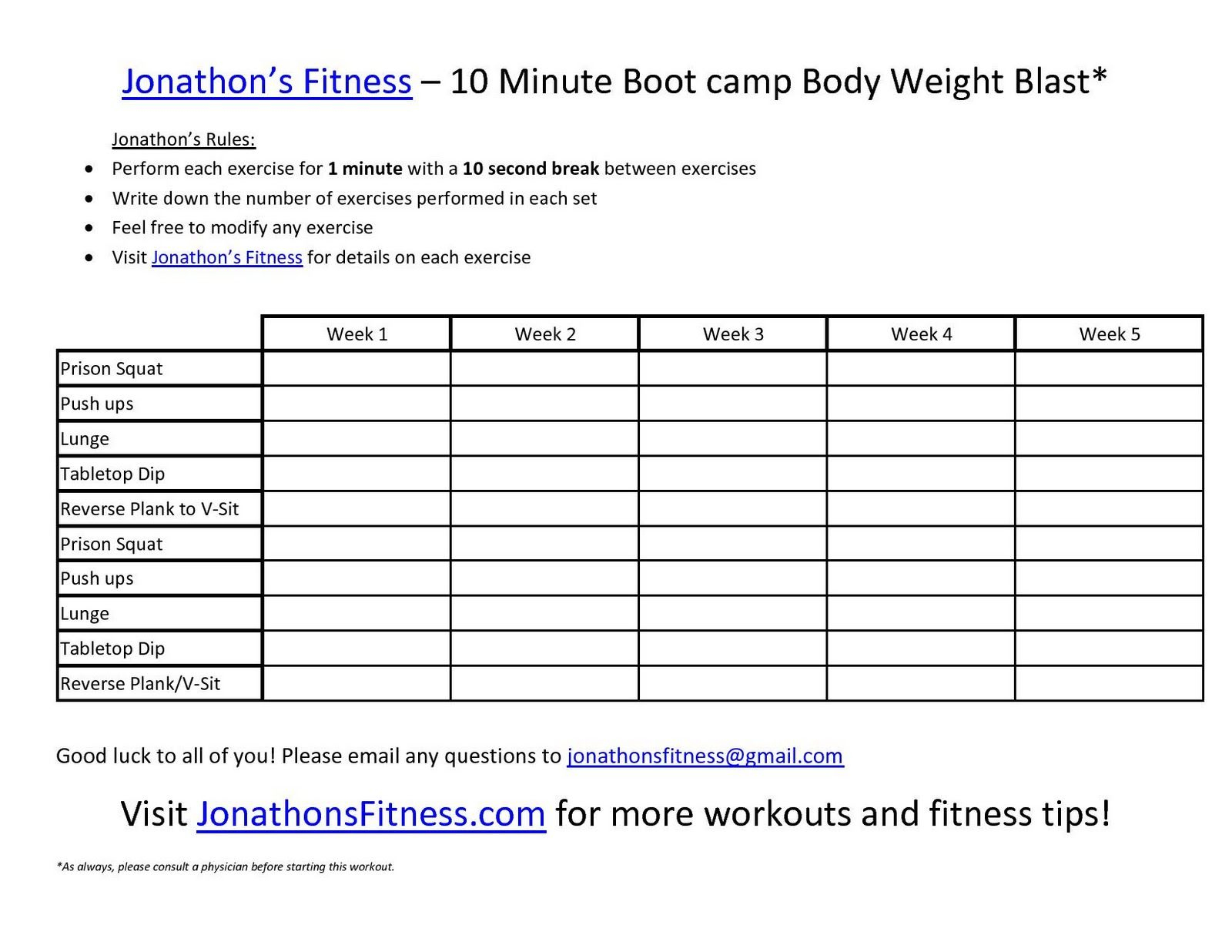 Free Printable Workout Routines . | Fitness Programs | Workout - Free Printable Workout Routines