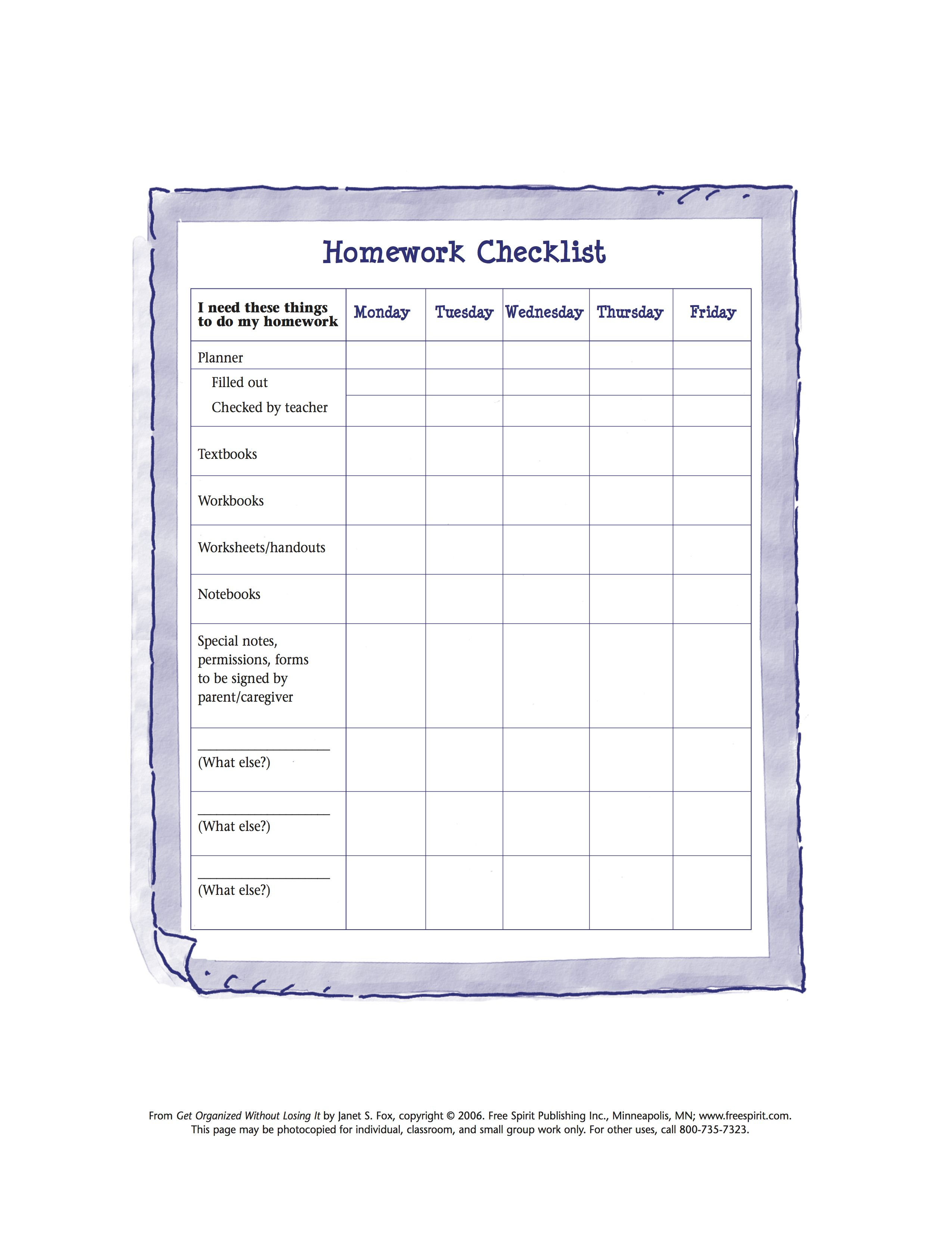 Free Printable Worksheet To Help Kids Organize Tools Needed For - Free Printable Homework Assignment Sheets