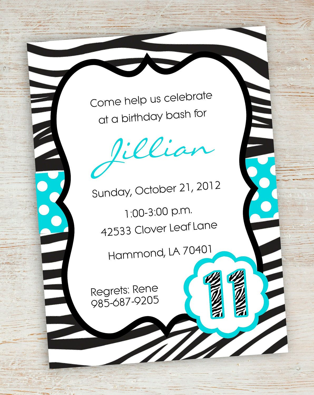 Free Printable Zebra Party Invitations | Printable Pink Turquoise - 13Th Birthday Party Invitations Printable Free