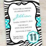 Free Printable Zebra Party Invitations | Printable Pink Turquoise   Free Printable Polka Dot Birthday Party Invitations