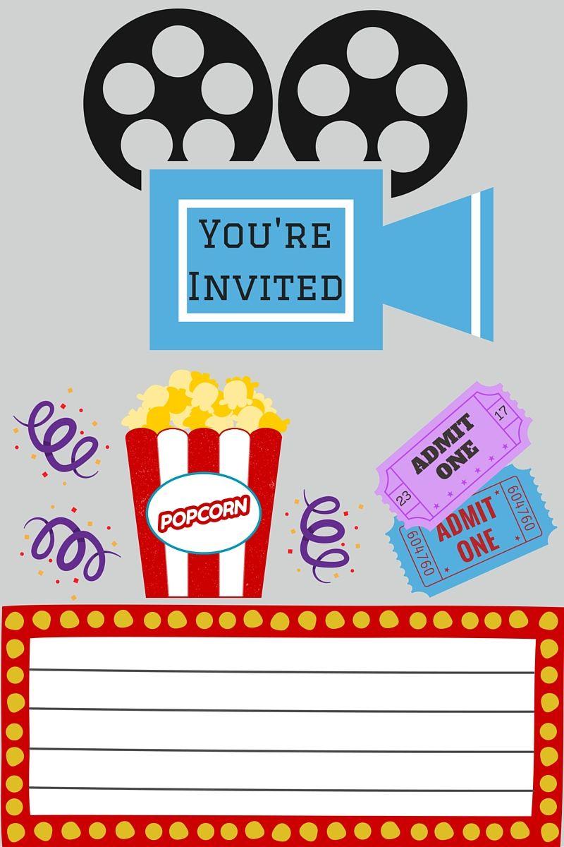 Free Printables   Movie Night Party   Movie Night Invitations, Movie - Movie Night Birthday Invitations Free Printable