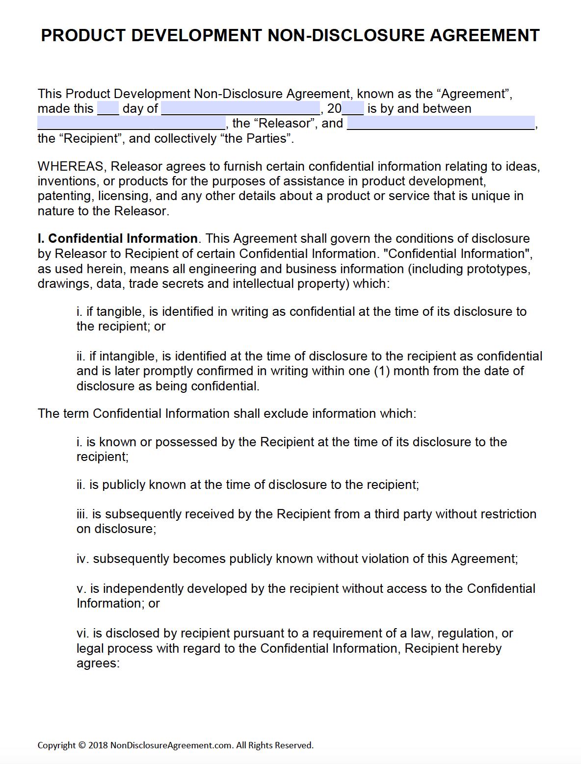 Free Product Development Non-Disclosure Agreement (Nda) – Pdf – Word - Free Printable Non Disclosure Agreement Form