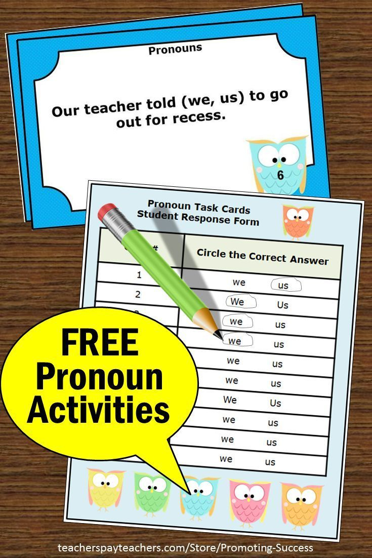 Free Pronoun Activities: Teachers May Download These Printable - Free Printable Kindergarten Task Cards