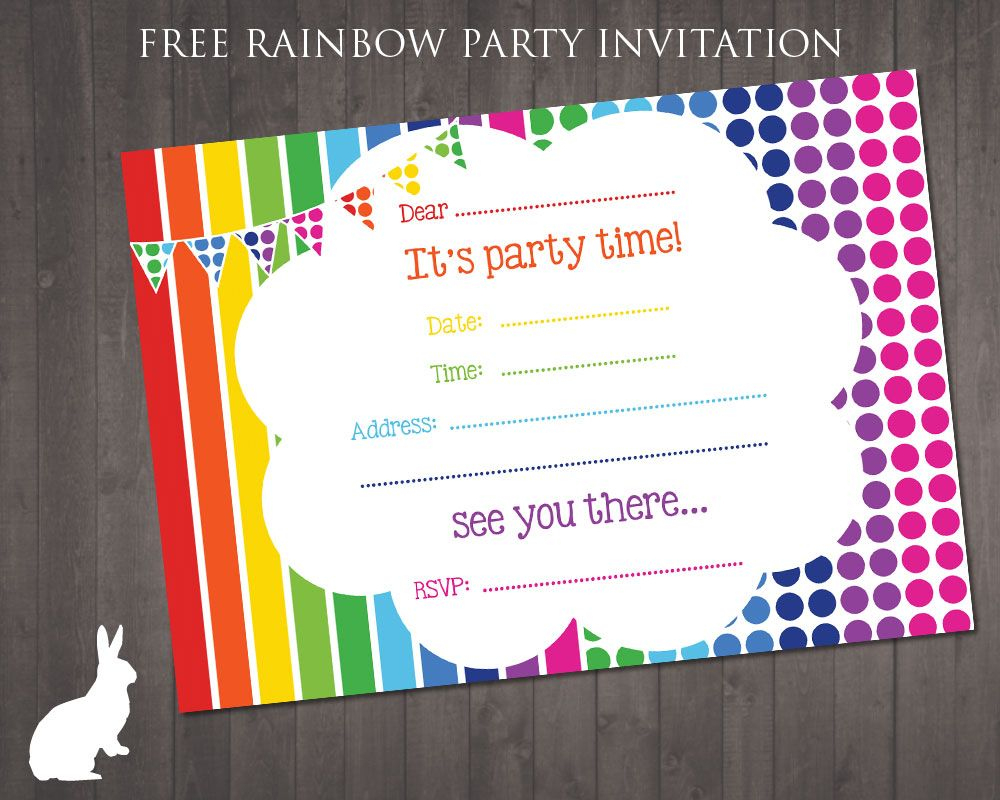 Free Rainbow Party Invitation | Ruby And The Rabbit | Rainbow Party - Free Printable Birthday Party Invitations With Photo