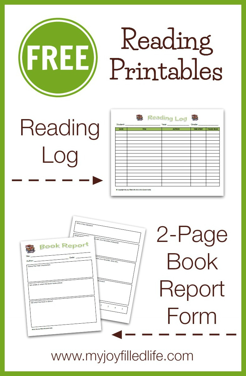 Free Reading Log & Book Report Form - My Joy-Filled Life - Free Printable Book Report Forms For Elementary Students