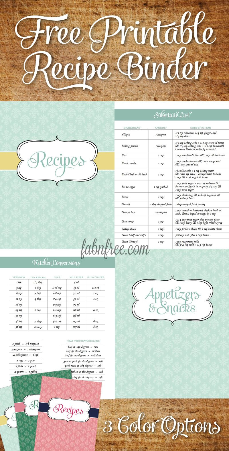 Free Recipe Binder In 3 Color Options | Fabnfree // Our Free Stuff - Free Printable Recipes