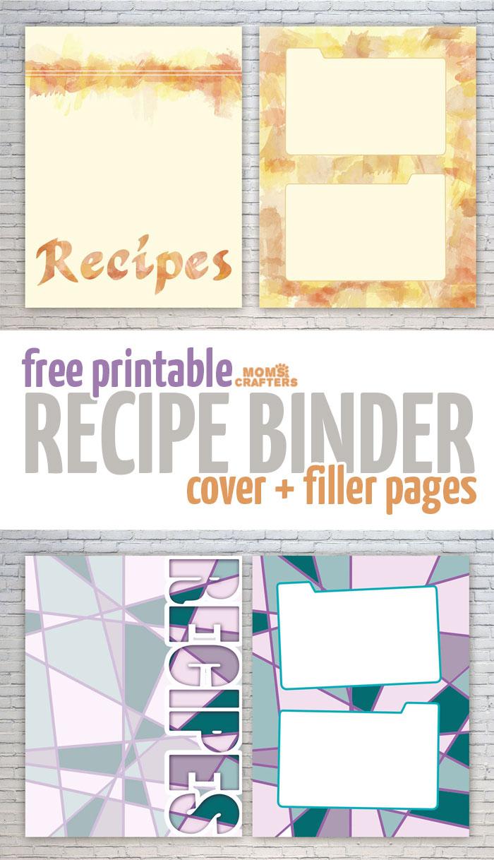 Free Recipe Binder Printables – Moms And Crafters - Free Printable Recipe Binder