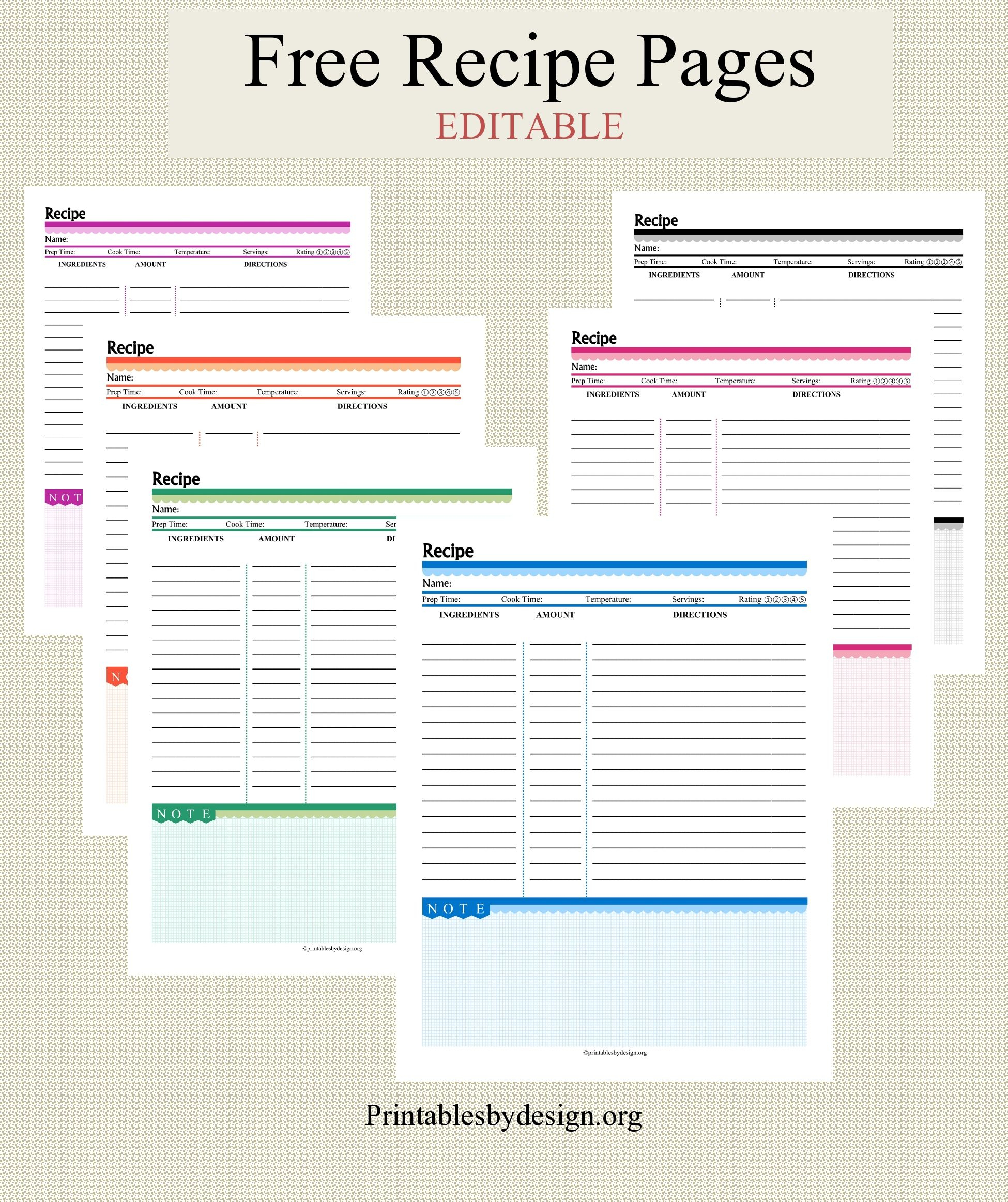 Free Recipe Pages In 6 Colors To Choose From. Editable. | Recipe - Free Printable Recipe Page Template