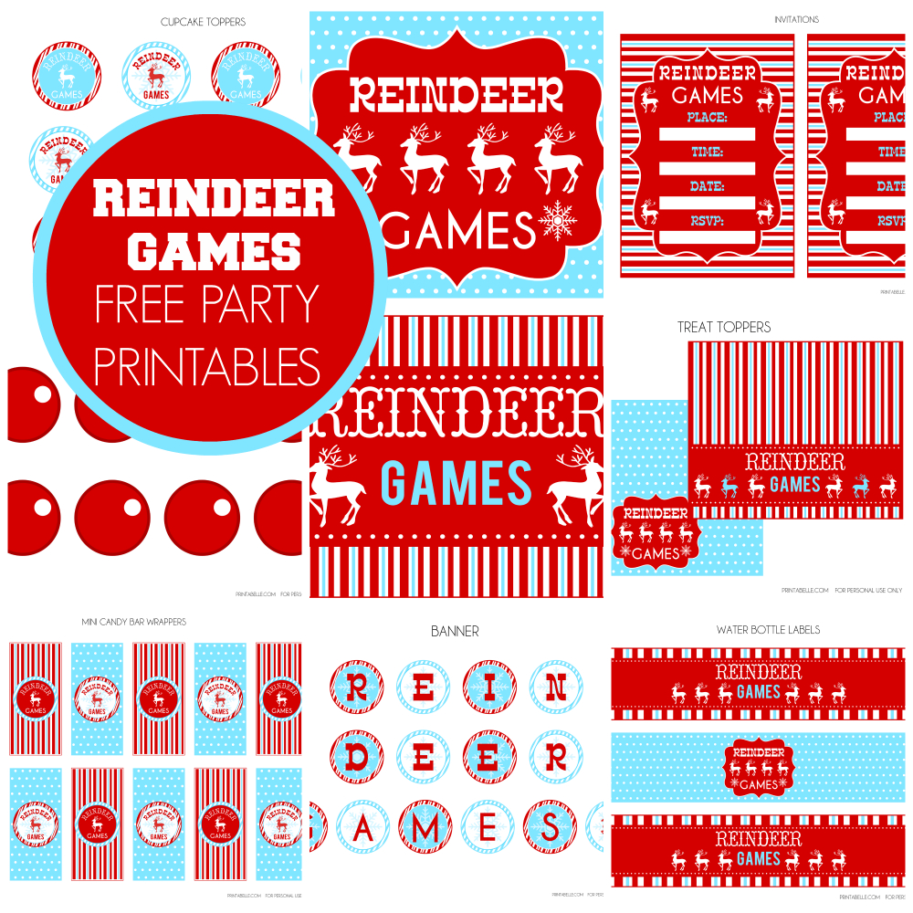 Free Reindeer Games Party Printables From Printabelle | Catch My Party - Free Printable Christmas Party Signs
