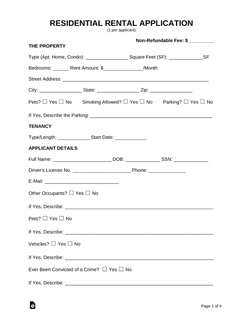 Free Rental Application Form - Pdf   Word   Eforms – Free Fillable Forms - Free Printable Rental Application