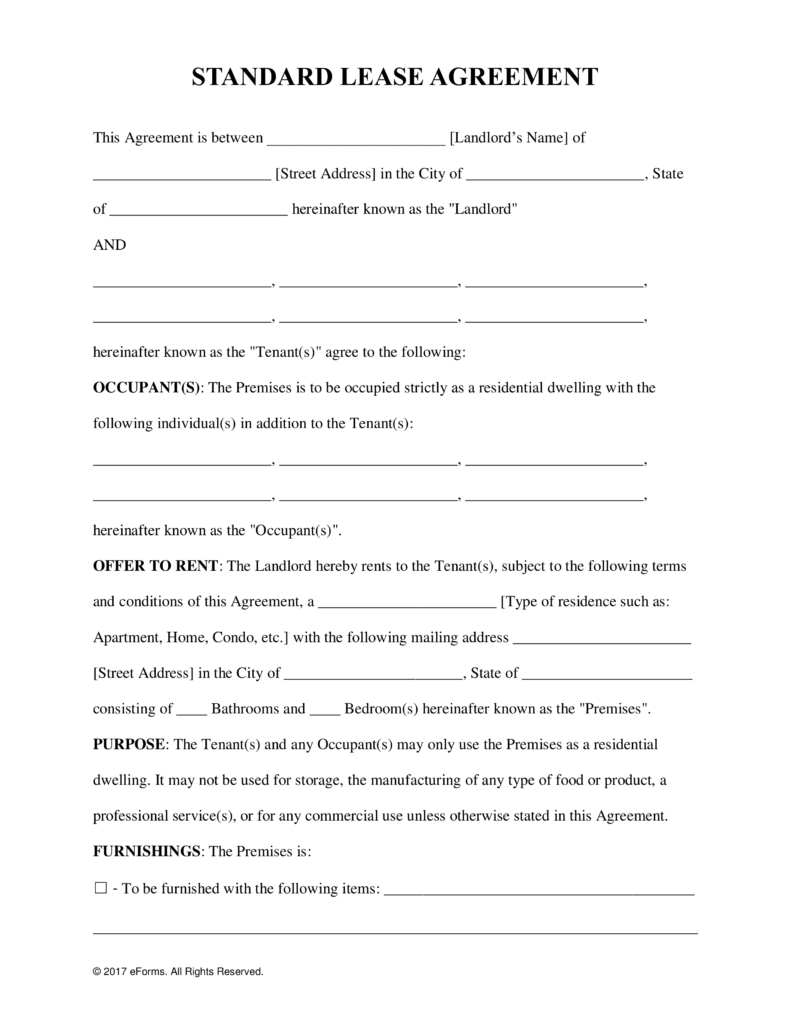 Free Rental Lease Agreement Templates - Residential & Commercial - Free Printable Lease Agreement Pa