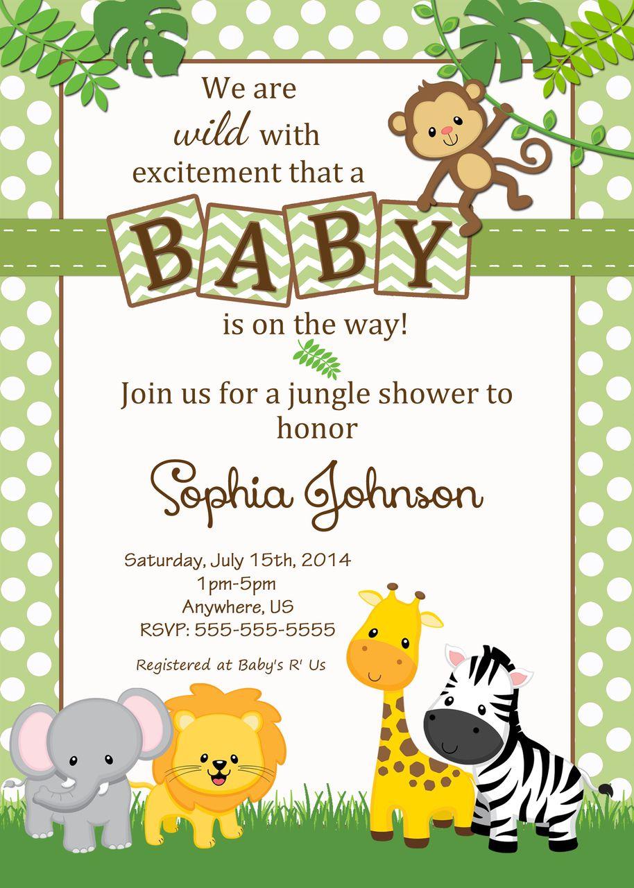 Free Safari Baby Shower Invitations - Google Search   Baby Shower - Free Printable Jungle Safari Baby Shower Invitations