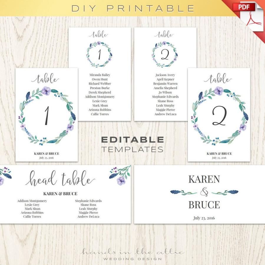Free Seating Chart Template Wedding Table Co Floral Numbers - Free Printable Wedding Seating Chart Template