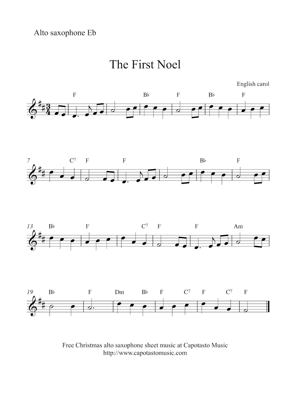 Free Sheet Music Scores: Alto Saxophone Christmas | Xmas Music - Free Printable Christmas Sheet Music For Alto Saxophone