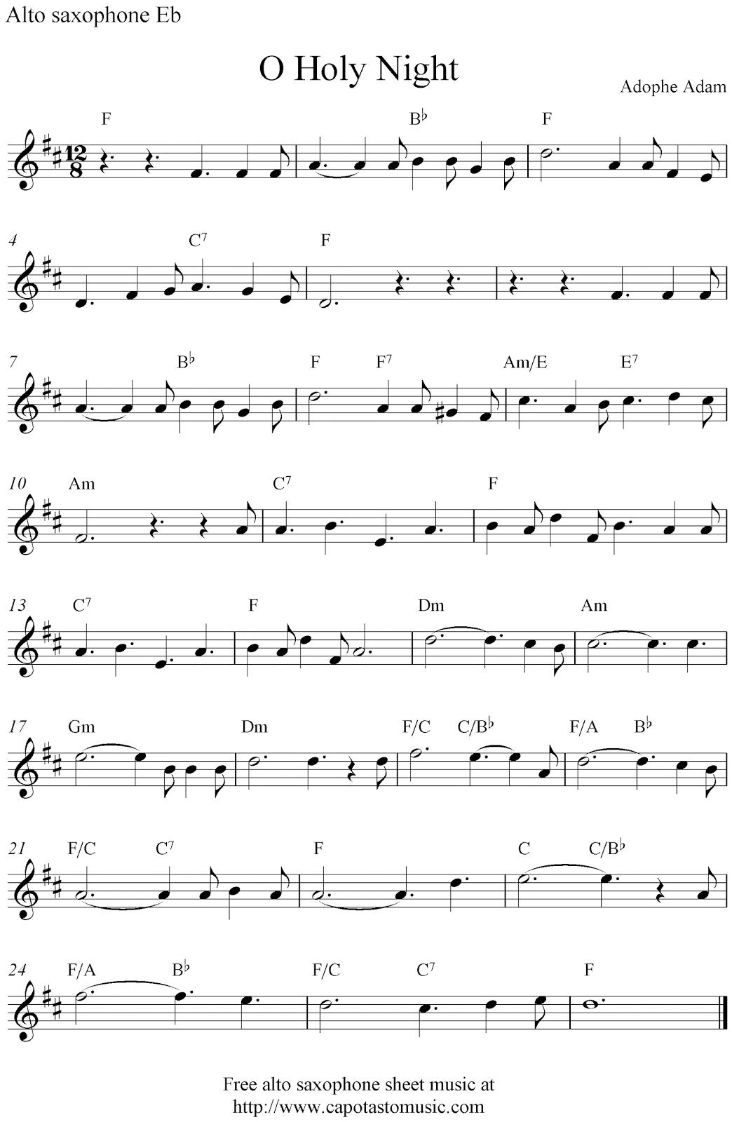 Free Sheet Music Scores: O Holy Night, Free Christmas Alto Saxophone - Free Printable Christmas Sheet Music For Alto Saxophone