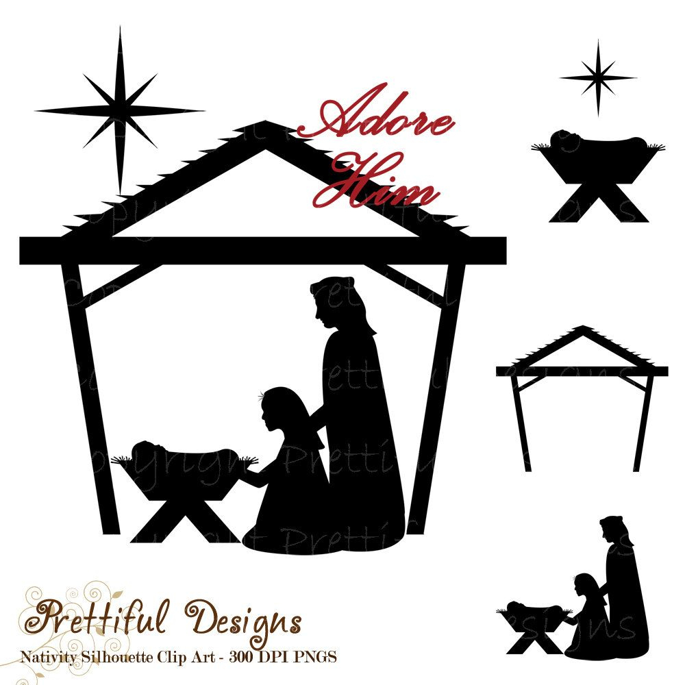 Free Silhoutte Nativity Scene Patterns | Nativity Clip Art - Free Printable Nativity Silhouette