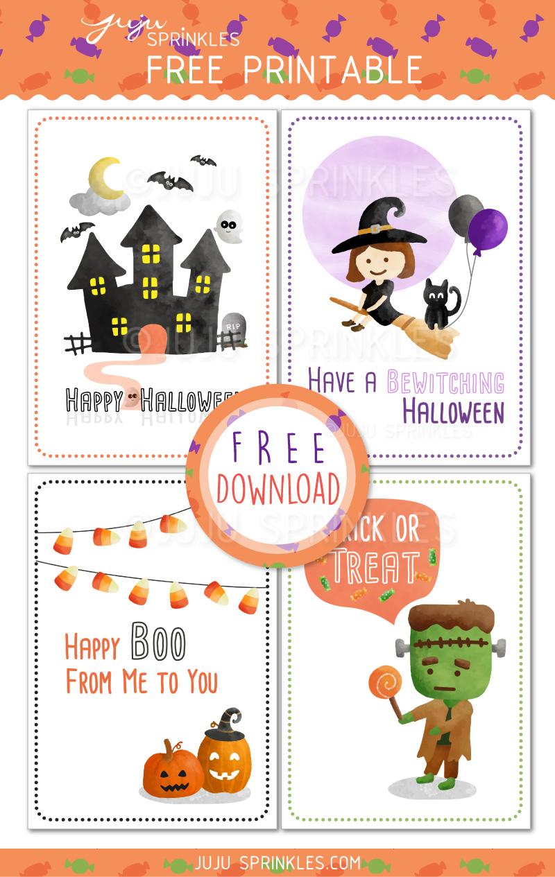 Free Spook-Tacular Halloween Cards – Juju Sprinkles - Free Printable Halloween Cards