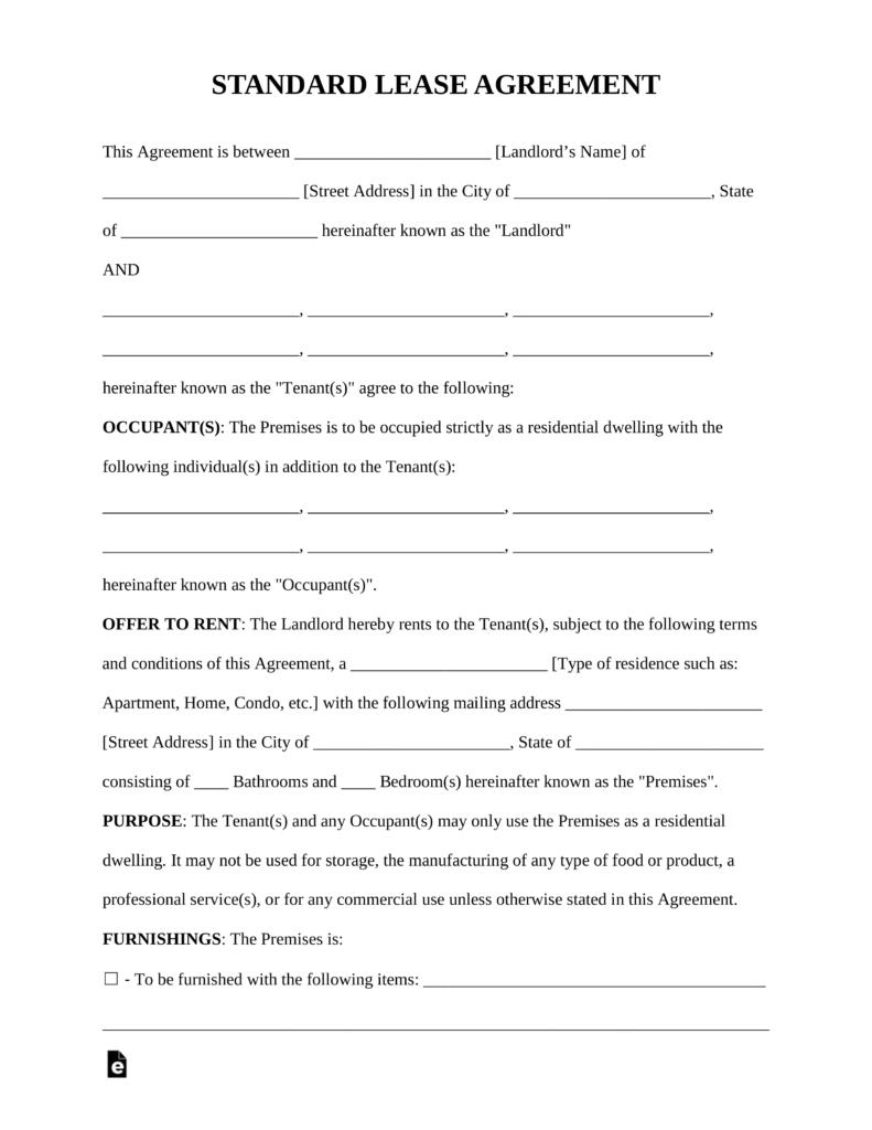 Free Standard Residential Lease Agreement Template - Pdf | Word - Free Printable Basic Rental Agreement