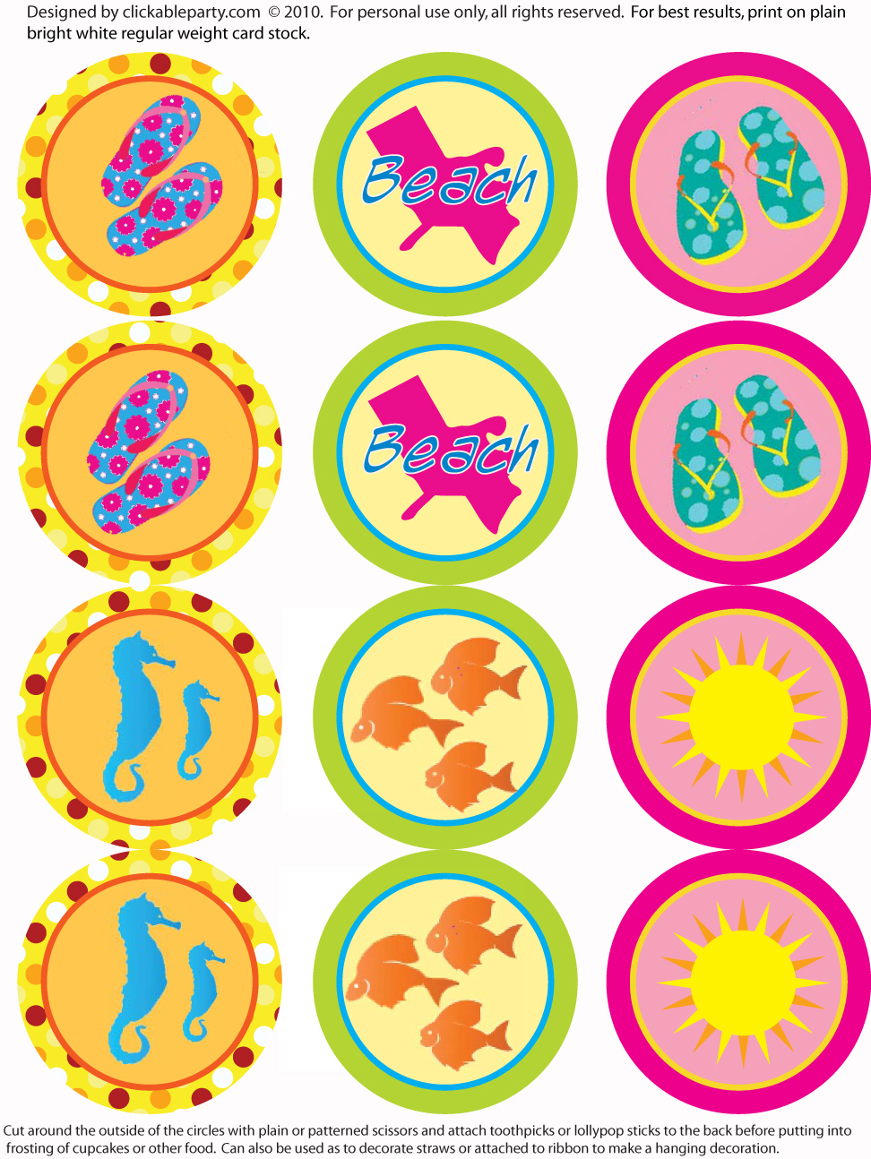 Free Summer Party Printables From Clickable Party | Catch My Party - Free Printable Party Circles