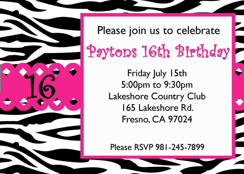 Free Sweet 16 Birthday Invitation Templates | Birthday Ideas - Free Printable 16Th Birthday Party Invitation Templates