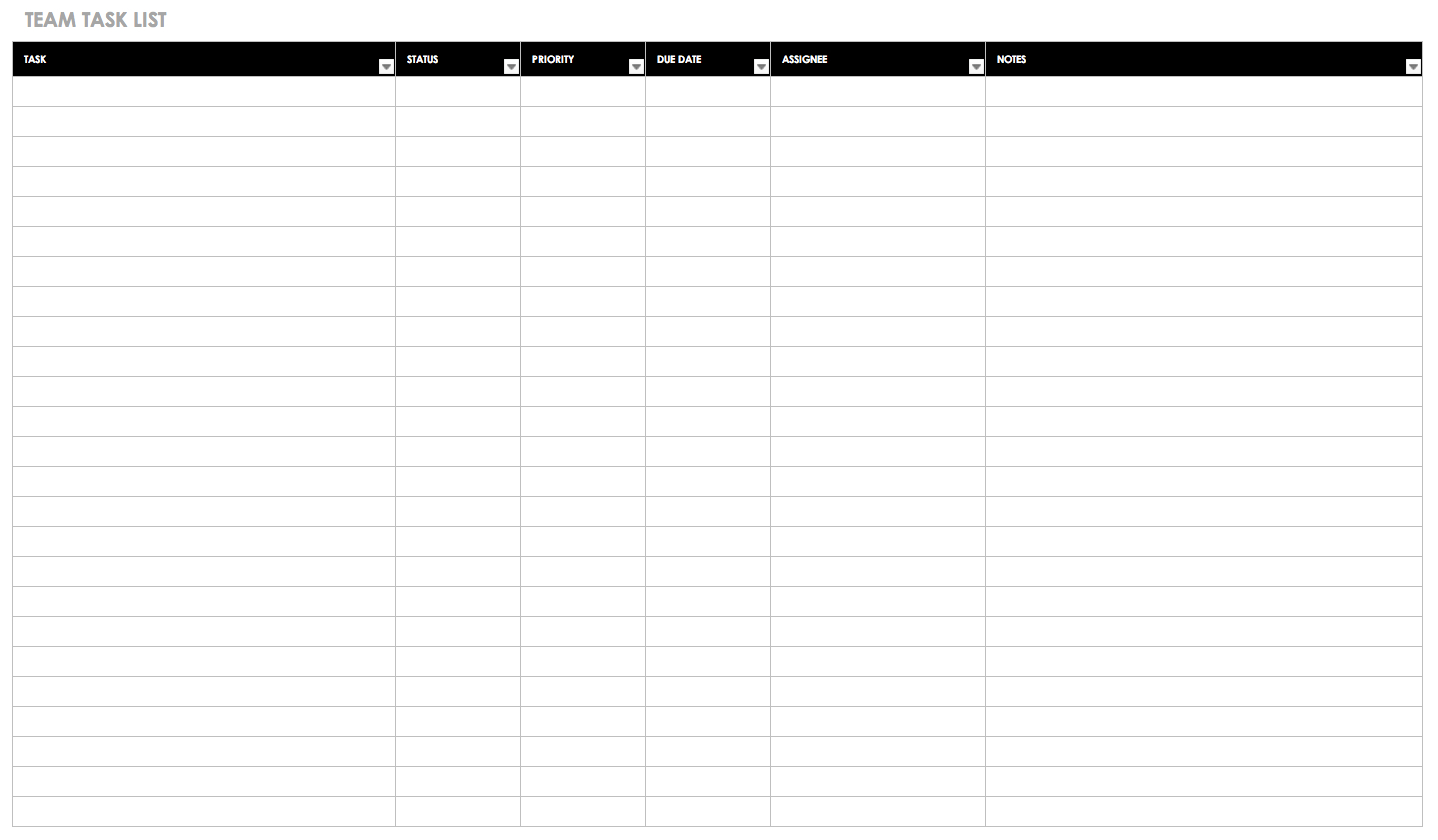 Free Task And Checklist Templates   Smartsheet - Free Printable Task Organizer