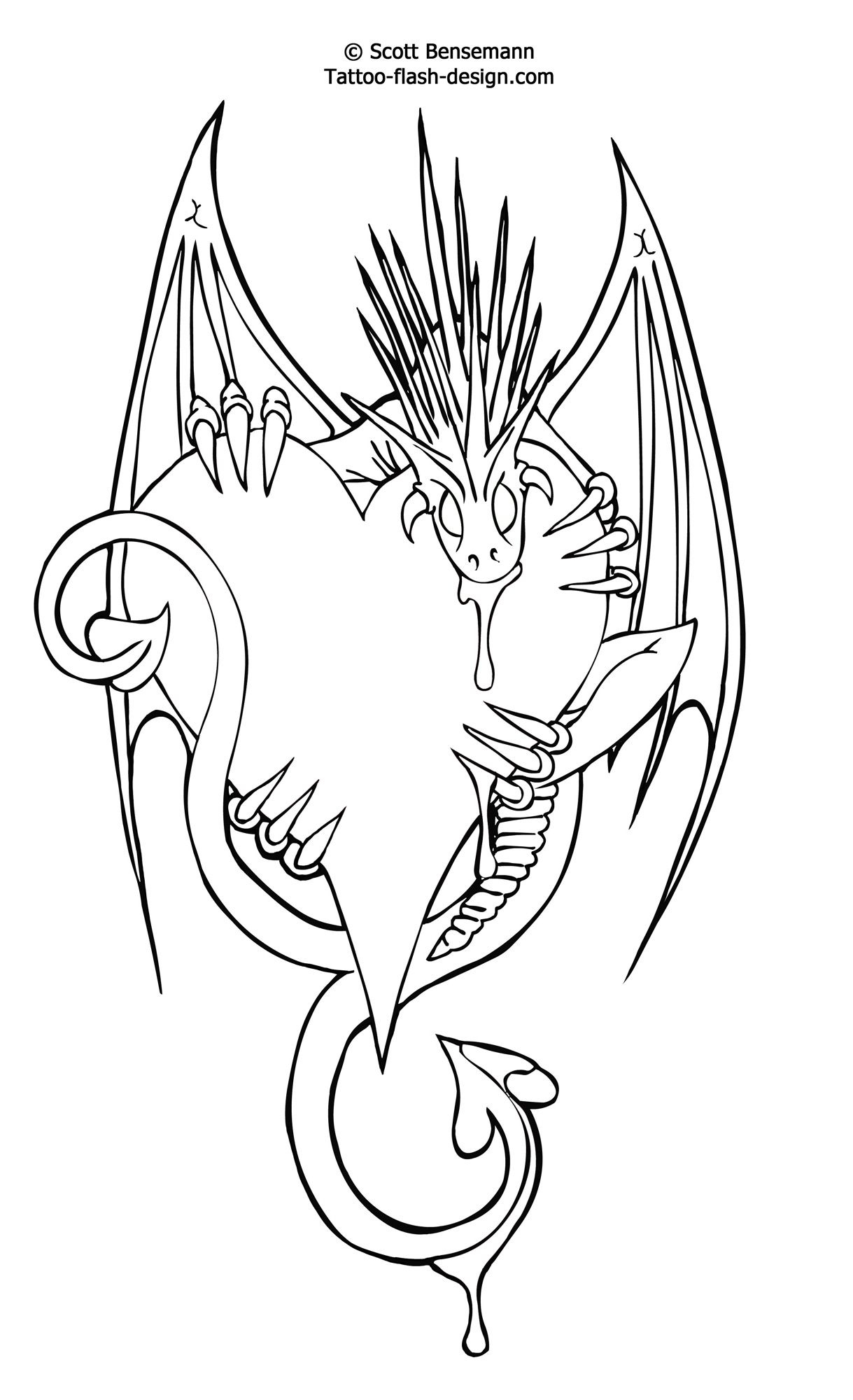 Free Tattoo Flash Love Heart Dragon Design Printable Castle B Day On - Free Printable Flash Tattoo