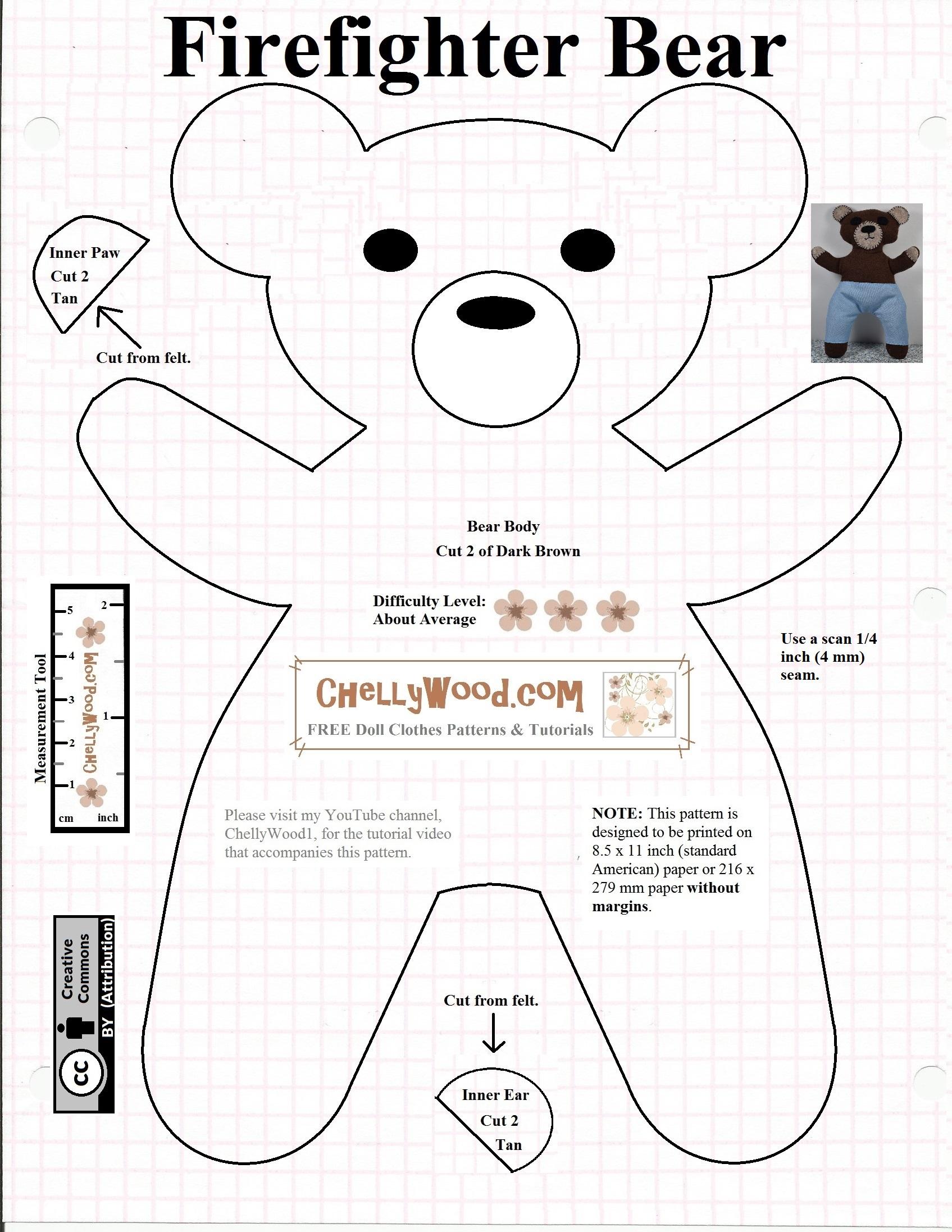 Free #teddybear #plush #toy Pattern @ Chellywood – Chellywood - Free Printable Teddy Bear Clothes Patterns