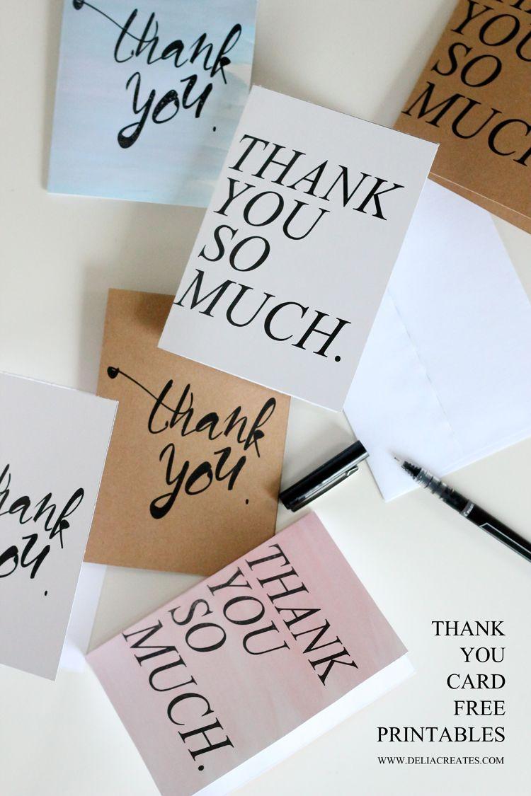 Free Thank You Card Printables // Delia Creates | Thank You Cards - Free Personalized Thank You Cards Printable