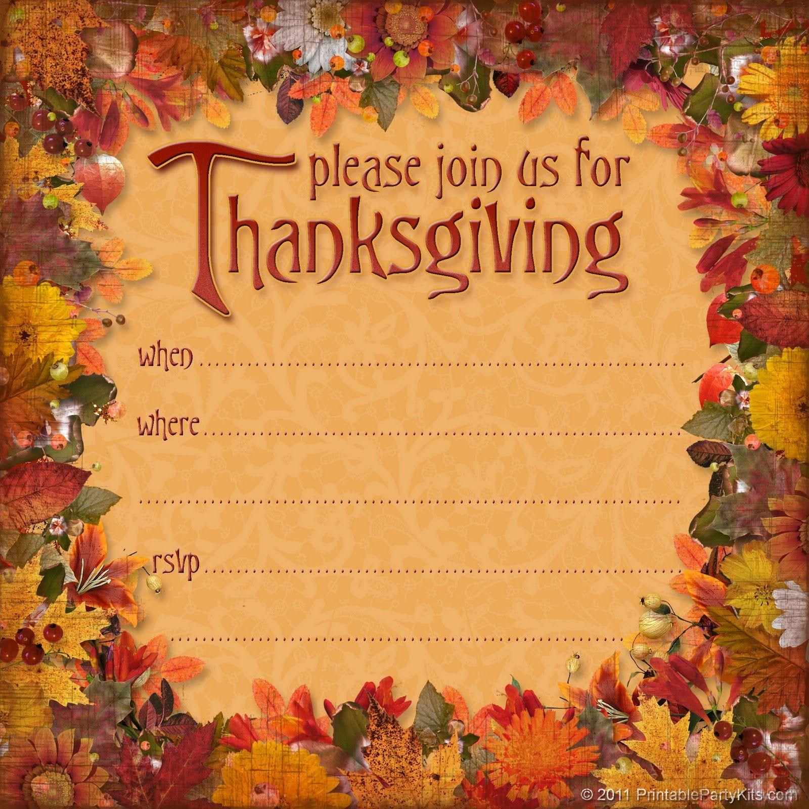 Free Thanksgiving Dinner Invitation   Thanksgiving   Thanksgiving - Free Printable Thanksgiving Dinner Invitation Templates