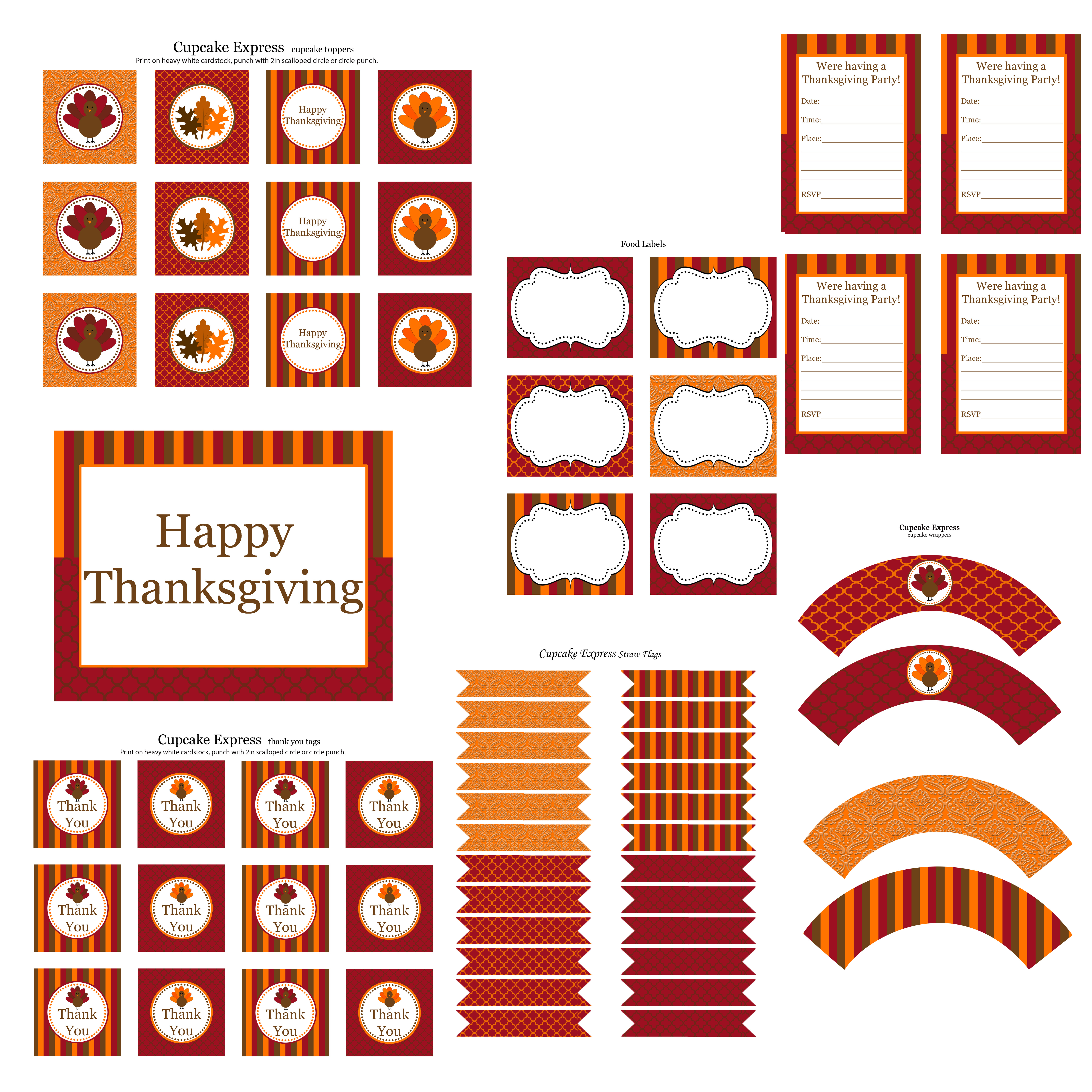 Free Thanksgiving Party Printables From Cupcake Express   Catch My Party - Thanksgiving Cupcake Toppers Printable Free