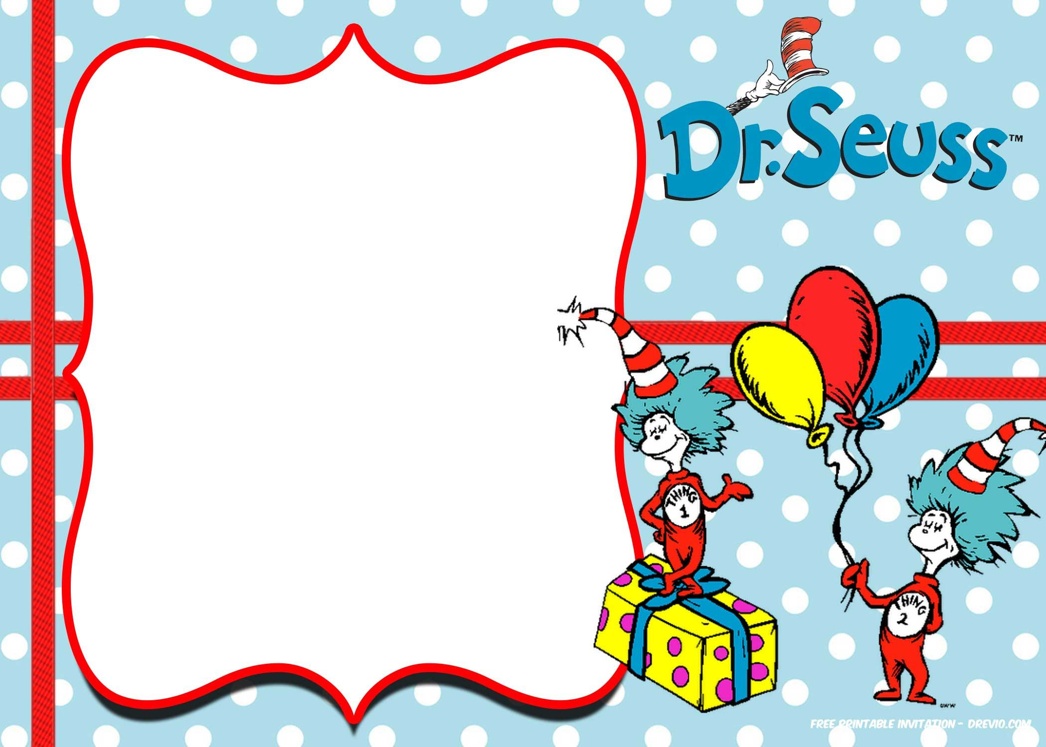 Free Thing 1 And Thing 2 Dr. Seuss Invitation | Free Printable - Dr Seuss Free Printable Templates