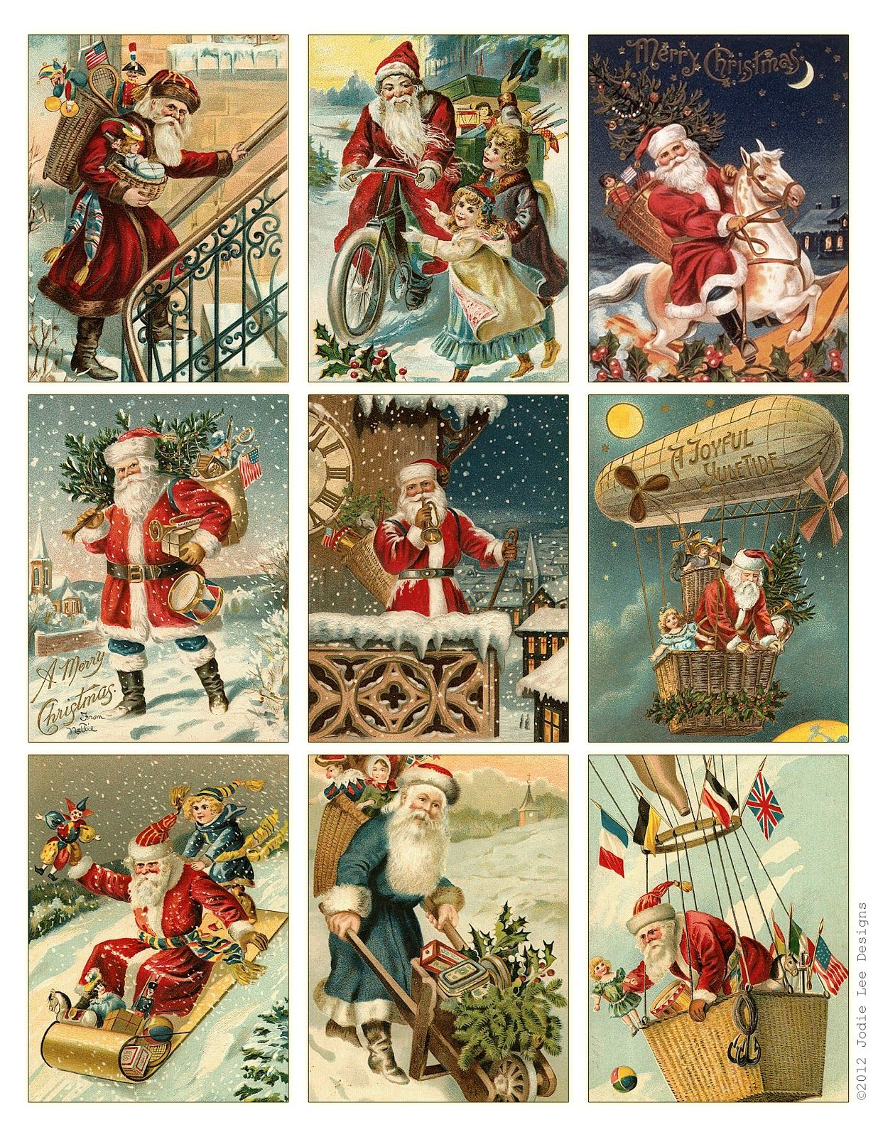 Free To Download! Printable Vintage Santa Tags Or Cards. | Free - Free Printable Xmas Cards Download