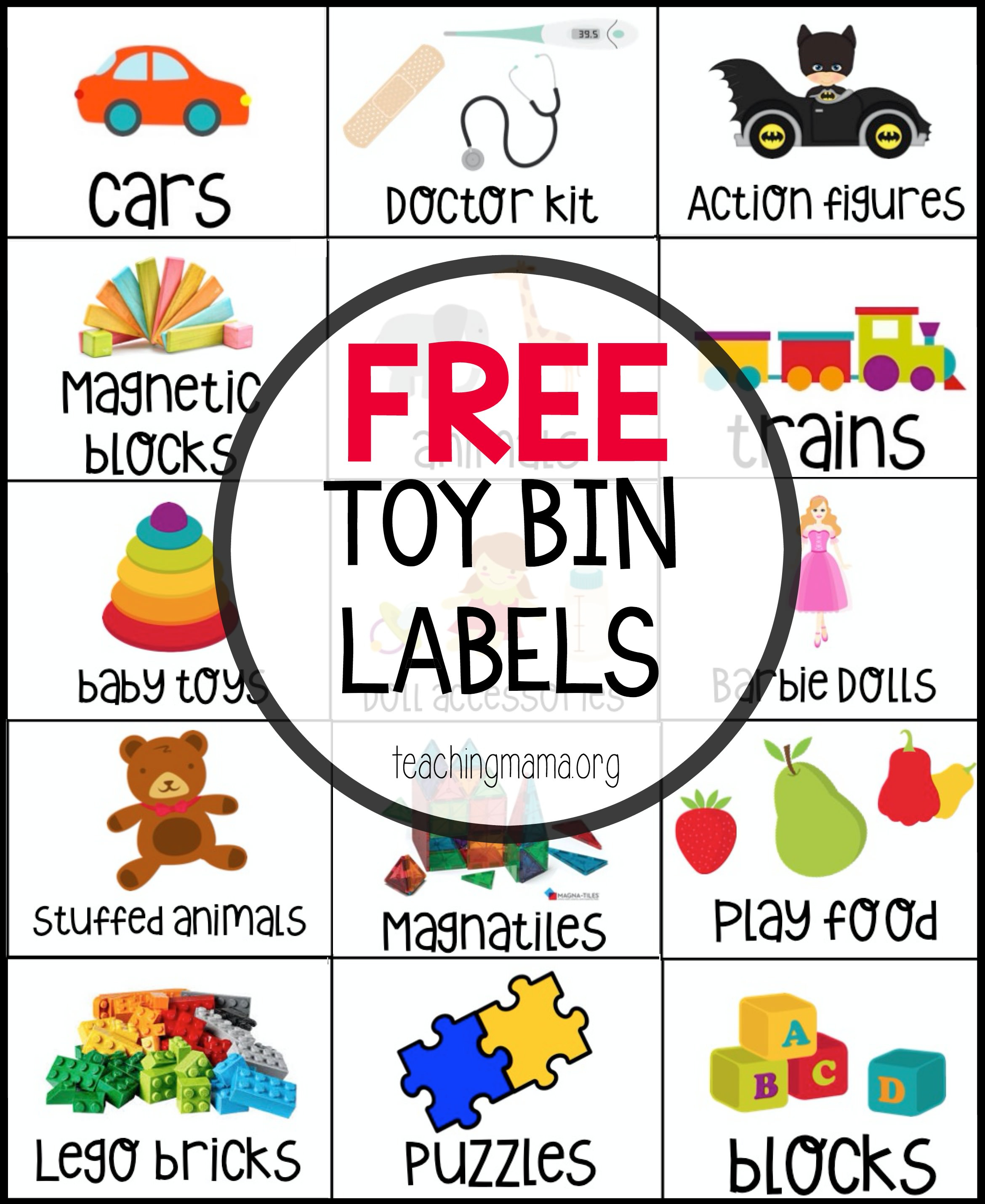 Free Toy Bin Labels - Free Printable Book Bin Labels