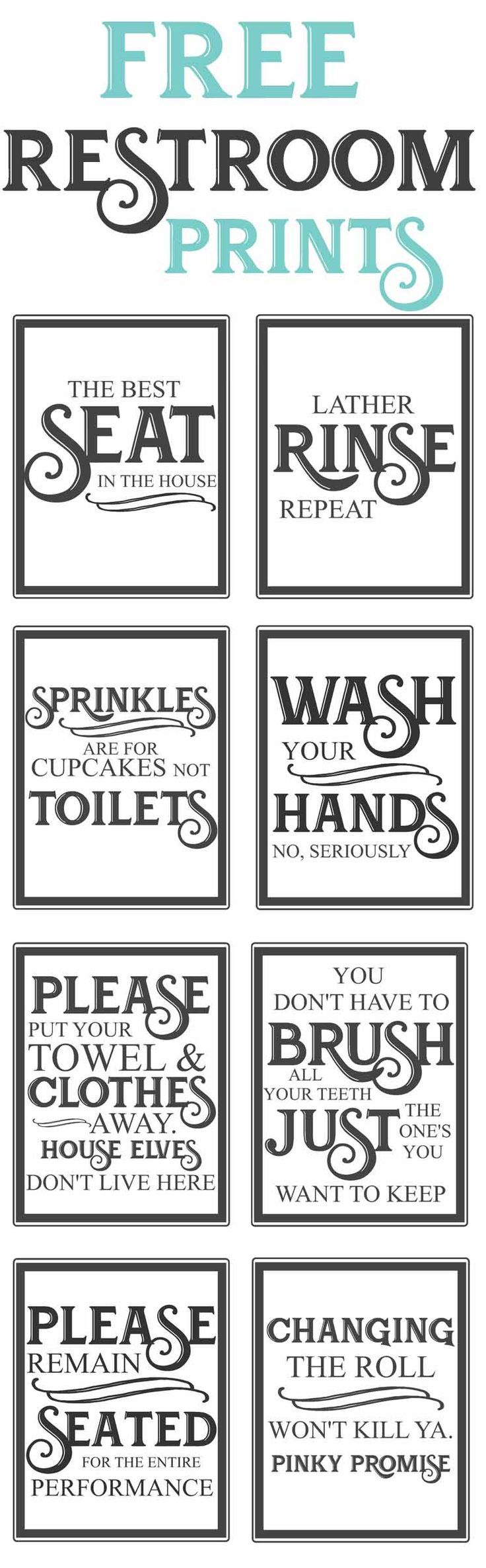 Free Vintage Bathroom Printables | Farmhouse | Diy Home Decor, Home - Free Printable Bathroom Signs