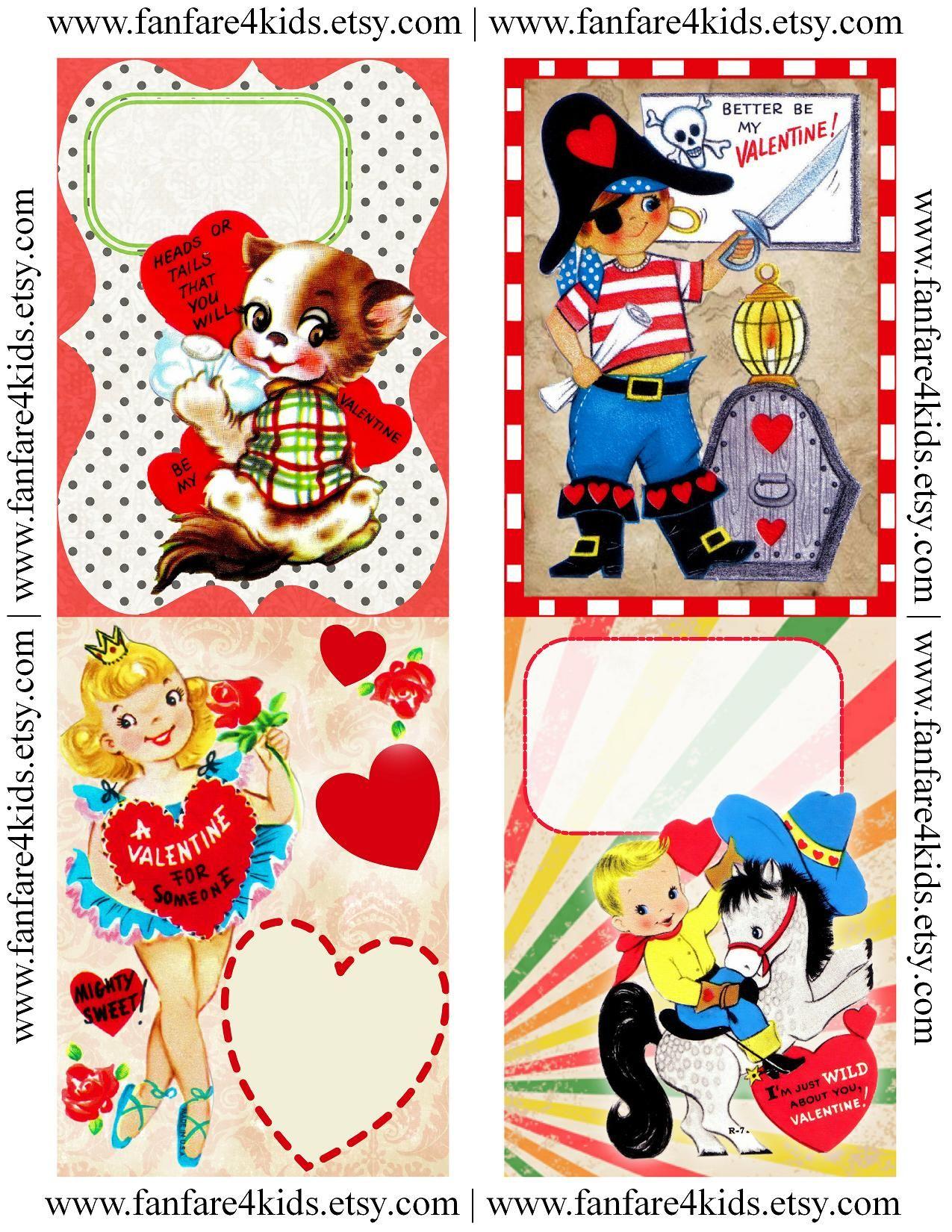 Free Vintage Printables   Vintage Kids Valentines - Free Printable - Free Printable Vintage Valentine Pictures