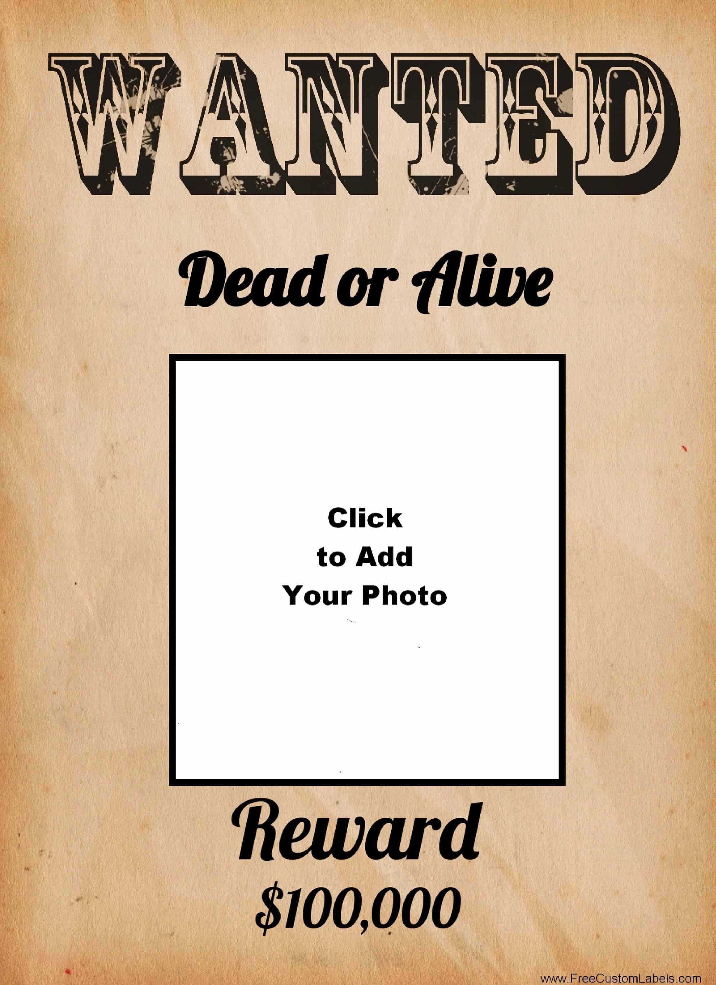 Free Wanted Poster Maker | Make A Free Printable Wanted Poster Online - Wanted Poster Printable Free